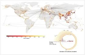 see how diseases sp in these mesmerizing graphics wired caption caption this map shows a hypothetical outbreak of swine flu from hanoi the size of each circle is proportional to the population the redder the