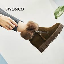 swonco womens ankle boots autumn genuine leather height increasing ladies shoes women round toe plush warm winter
