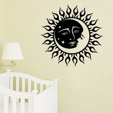 wall decals sun moon crescent dual ethnic stars night symbol