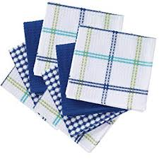 T-fal 100% Cotton 8 <b>Piece</b> Flat Waffle <b>Kitchen Dish Cloth</b> Set, Cool