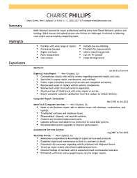 entry level customer service resume samples unsolicited cover college medical resume experience resumes resume example entry entry level mechanic resume example installation amp repair