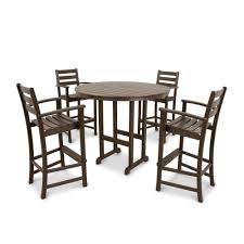 Trex Outdoor Furniture Monterey Bay <b>5</b>-<b>Piece</b> Brown Frame <b>Bar</b> ...