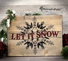 wood sign glass decor wooden kitchen wall: let it snow christmas sign snowflake distressed holiday decor christmas wood