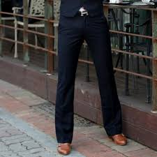 <b>2019 Men's flared</b> pants casual fashion trousers wide-leg suit black ...