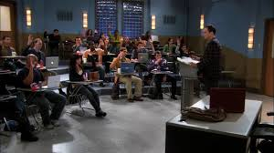 in the thespian catalyst sheldon is a guest lecturer on topological insulators to doctoral candidates the room has a whiteboard podium several seats caltech recreation room