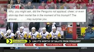pittsburgh penguins russian machine never breaks rmnb on around the horn was ovechkin s 1 000 points worthy of salute from penguins