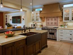 open kitchen design farmhouse: cherry cabinets farmhouse design your own kitchen using black floor tiles and white wall
