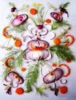 Украшение салатов овощами фото