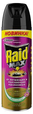Купить <b>Аэрозоль</b> против <b>насекомых Raid</b> Max Весенний луг, 300 ...