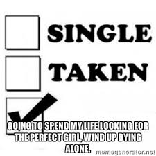 Going to spend my life looking for the perfect girl, wind up dying ... via Relatably.com