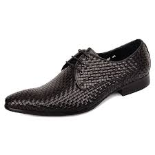 <b>Men</b> Cow Leather <b>Pointed Toe Lace</b> up Woven Business Formal ...