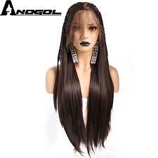 <b>Anogol Futura Fiber Black</b> Mix Brown Natural Full Hair Wigs Long ...