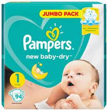 <b>Pampers подгузники New</b> Baby Dry 1 (2-5 кг) 94 шт. — купить по ...