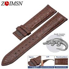 <b>ZLIMSN</b> Genuine <b>Crocodile Alligator Skin Leather Watch</b> Bands ...