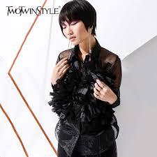 TWOTWINSTYLE Mesh Tassel Thin Women's Blouses Shirts <b>Large</b> ...