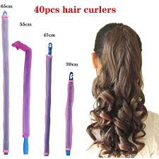 40 pcs <b>magic hair</b> curler set no heat curlers spiral 2.5 cm diameter ...