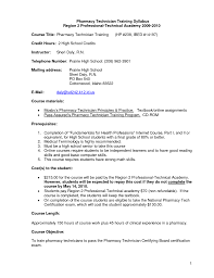 pharmacy technician objective for resume sample shopgrat sample resume for pharmacy technician training syllabus pharmacy technician objective for resume