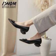 ISNOM <b>Spring Casual</b> Thick Low Heels Women Pumps <b>Pointed</b> Toe ...