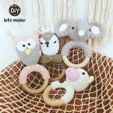 Baby Toys 1pc Wooden Teether Crochet Pattern Rattle Elephant ...