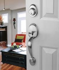 Front Door Entry Set Lock Satin Nickel With Vail Lever Interior
