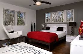 red wall paint black bed: white red combined in modern home living room wall paint decoration with three pendant lamp recessed dark grey walls bedroom