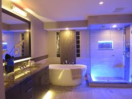 captivating bathroom lighting ideas for white interior with tub in the in decorative floral wall for captivating bathroom lighting ideas