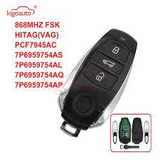 <b>Kigoauto</b> 7P6 959 754 AS AL AQ AP <b>Smart key</b> 3 button 868MHZ ...