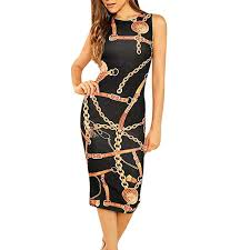 Kaister <b>Sexy Dresses</b> for <b>Women</b> Sleeveless Chain Print Bodycon ...