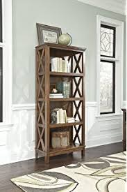 burkesville medium brown wooden home office large bookcase with four shelves brown finish home office