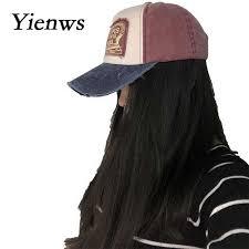 Online Shop Yienws Vintage Jeans <b>Curve Brim</b> Trucker Cap For ...