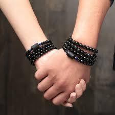 <b>6mm 8mm Lover's Style</b> Black Stone Obsidian Beads Bracelet ...