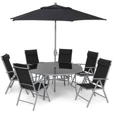 6 seat aluminium garden furniture set black black garden furniture