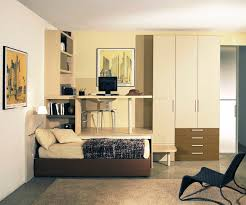 bedroom brown leather bed combined with high white wooden wardrobe and cream wooden study table brown leather bedroom furniture
