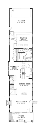 ideas about Narrow House Plans on Pinterest   Small House    First Floor Plan of Colonial Narrow Lot Southern Vacation House Plan