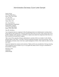 administrative secretary cover letter sample templates