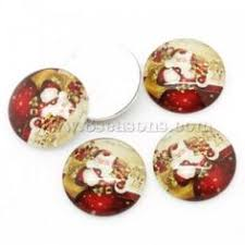 <b>Glass</b> Dome Cabochons Round Multicolor <b>Christmas Santa</b> Claus ...