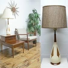 mid century modern teak and white ceramic table lamp beautiful teak panels and neck on beautiful mid century modern danish style teak