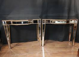 pair mirrored deco console tables hall borghese mirrored furniture