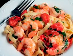 Image result for Prawns with fried cheese, barley shaped pasta