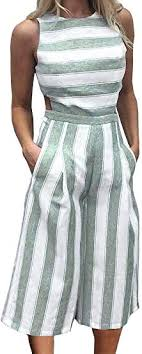 FANCYINN Womens Striped High Waist <b>Wide Leg</b> Jumpsuit Romper ...