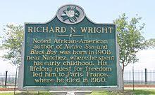 richard wright  author    wikipediaa historic marker in natchez  mississippi  commemorating richard wright  who was born near the city