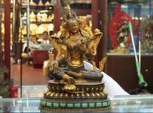 Тибетский обитель <b>фиолетовая</b> бронзовая Золотая инкрустация ...