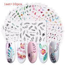 <b>10pcs различные ногти Наклейка</b> Установить цветок перо ...