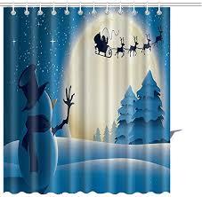 <b>Christmas</b> Shower Curtains <b>Christmas Printed</b> Polyester <b>Waterproof</b> ...
