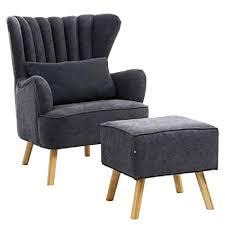 Wing <b>Retro</b> Fireside Tub <b>Chair</b> Armchair Grey Linen <b>Fabric</b> with ...