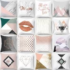 <b>Nordic</b> Simple <b>Pink Marble</b> Geometric Cushion Cover | Shopee ...