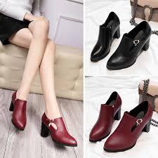 <b>Women</b> Martin Boots High-heeled <b>Shallow Chunky Heel</b> Shoes with ...
