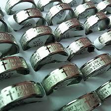 <b>Wholesale bulk 100pcs</b> ring men and women <b>mix colors</b> Bible Jesus ...