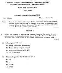 ignou advanced diploma information technology visual programming ignou advanced diploma information technology visual programming exam paper