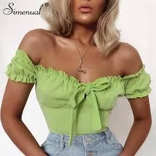 Simenual Solid <b>Sexy Summer</b> Bodysuit <b>Women</b> Neon Color ...